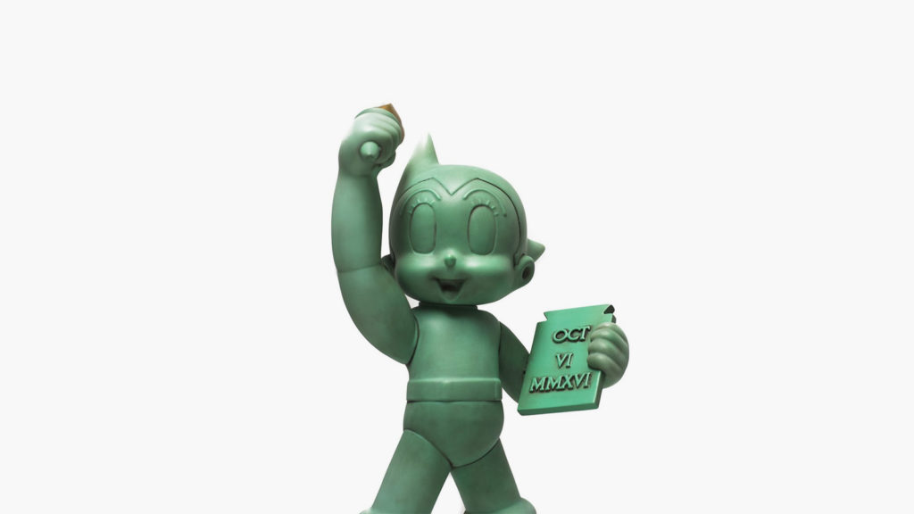 GREEN TOY CUBE ASTRO BOY X STATUE OF LIBERTY NY COMIC-CON NYCC EXCLUSIVE