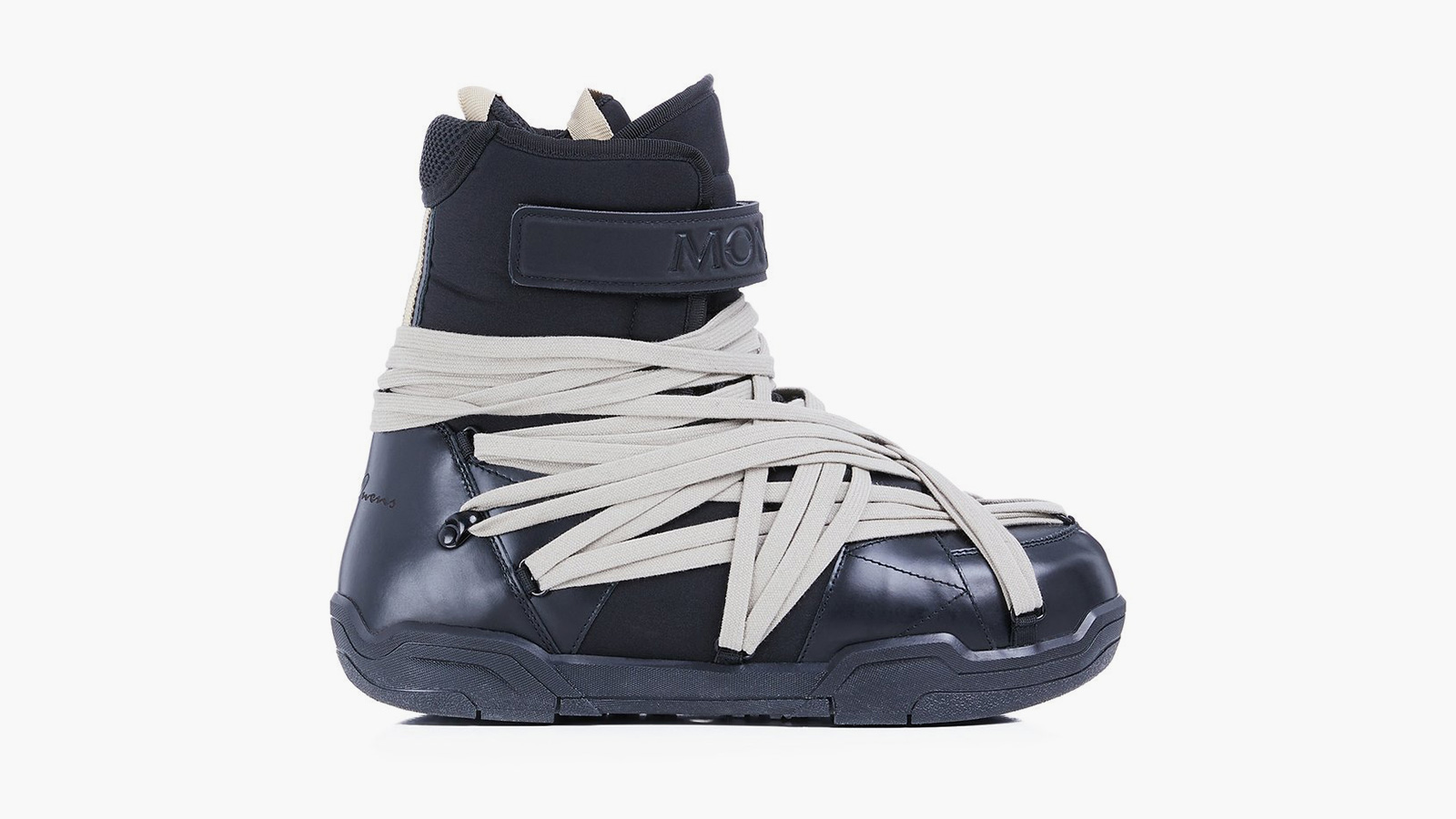 Rick Owens x Moncler Amber Canvas-Trimmed Leather Snow Boots