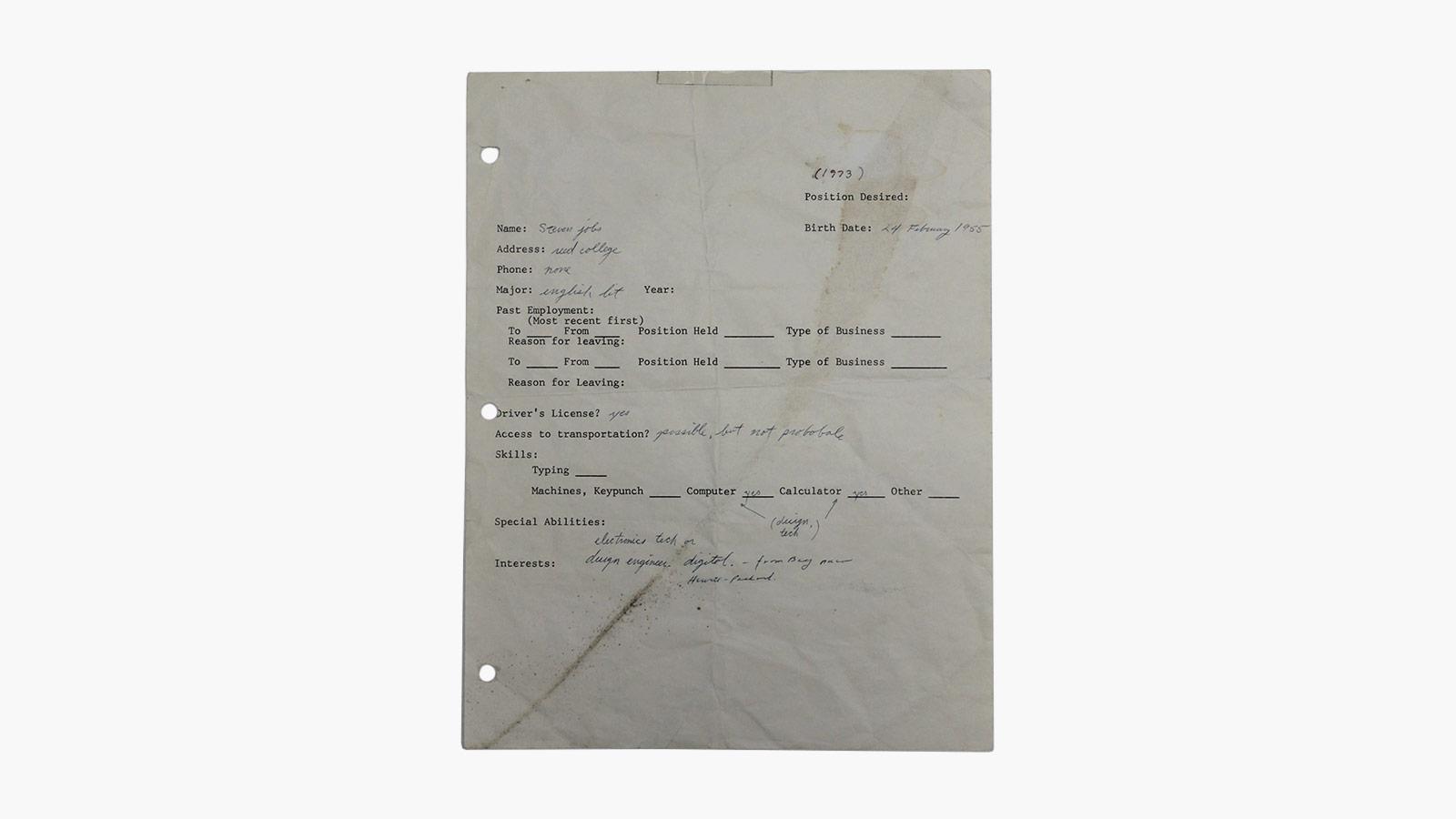 Steve Jobs Handwritten Job Application