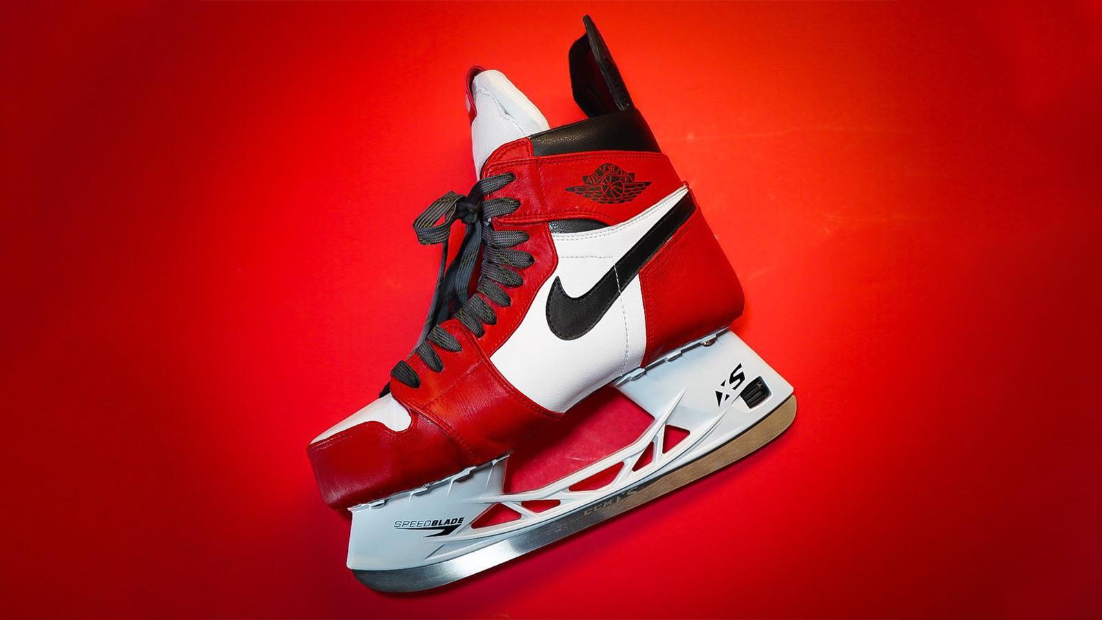 "Just Dishin x kota kustoms Air Jordan 1 ""Chicago"" Hockey Skates"